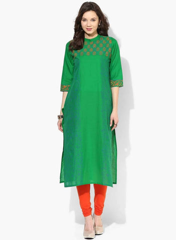 Green Colour Cotton Straight Make To Order Kurta