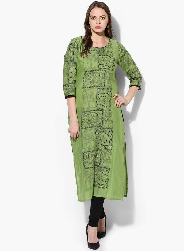 Olive Green Colour Cotton Straight Make To Order Kurta