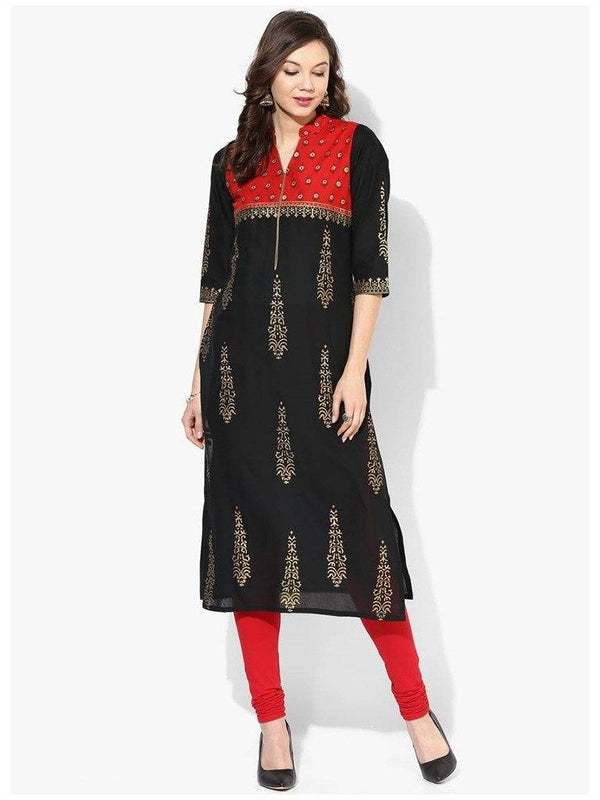 Black And Red A-Line Cotton Straight Make To Order Kurta
