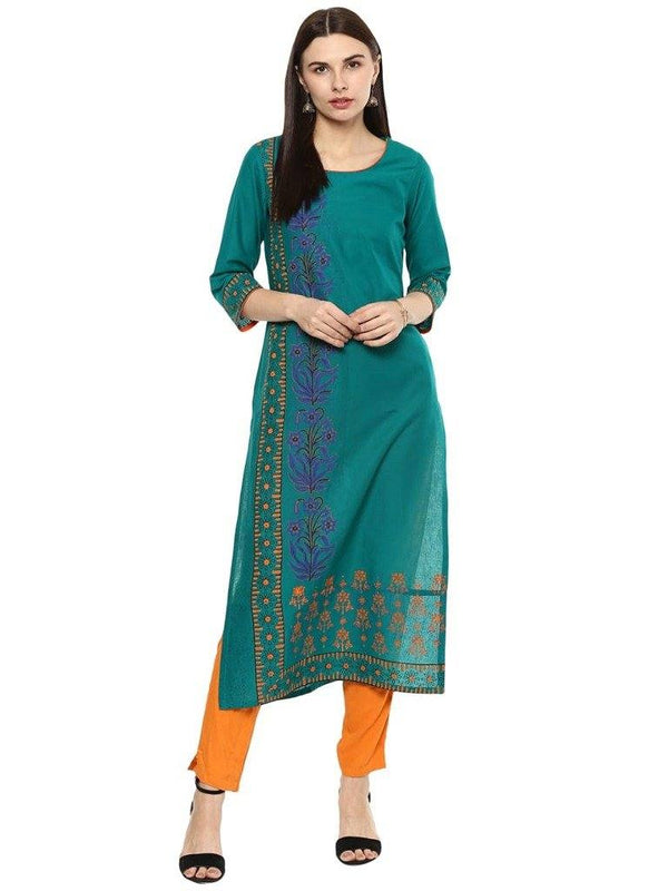 Teal Colour A-Line Cotton Make To Order Kurta