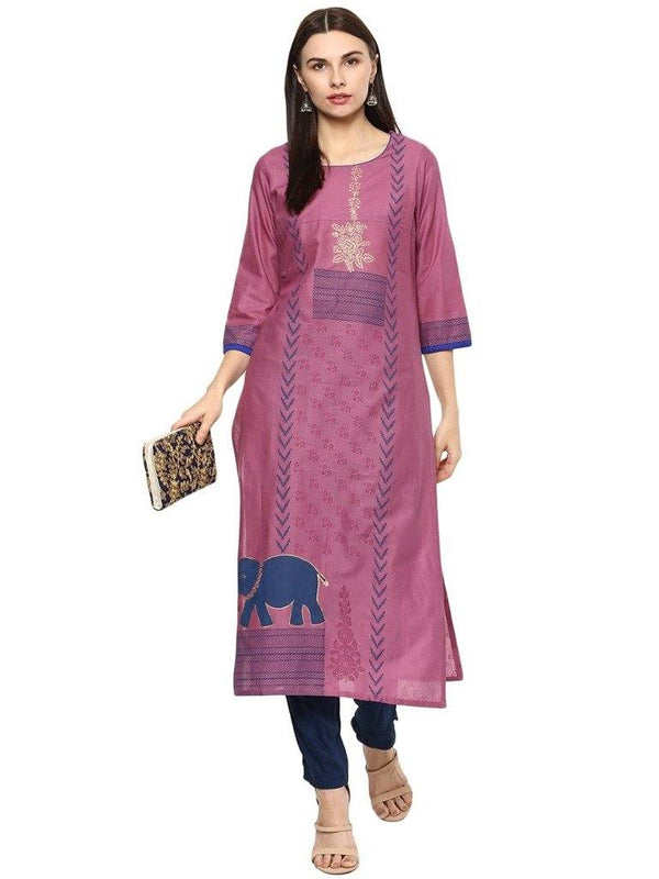 Lavender A-Line Cotton Make To Order Kurta