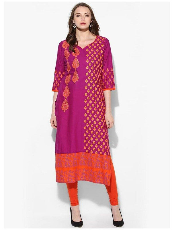 Magenta Colour A-Line Cotton Make To Order Kurta
