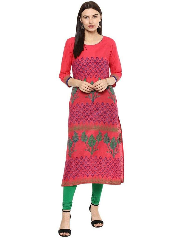 Pink Colour Straight Make To Order Cotton Kurta