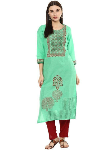 Lime Green Cotton Straight Make To Order Kurta