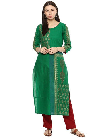 Green Gold Printed Cotton Straight Make To Order Kurta