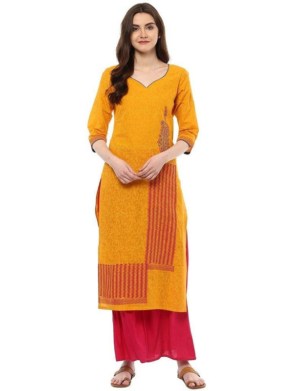 Yellow Printed Cotton Straight Make To Order Kurta