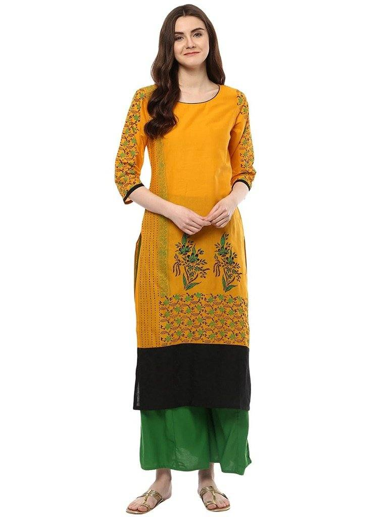 Mustard Yellow Printed Cotton Straight Make To Order Kurta