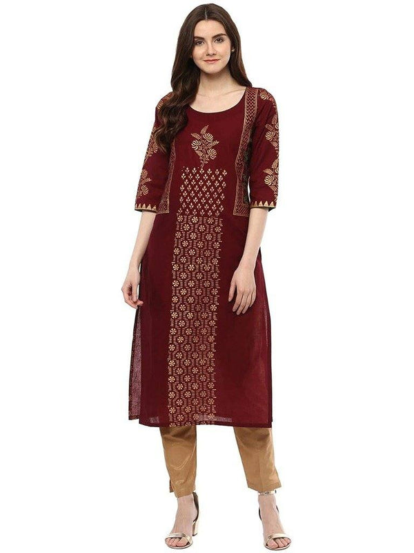 Burgundy & Gold Printed A-Line Make To Order Kurta
