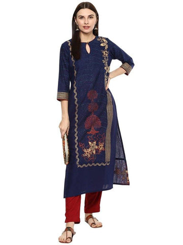 Navy Blue Printed Make To Order Cotton Kurta