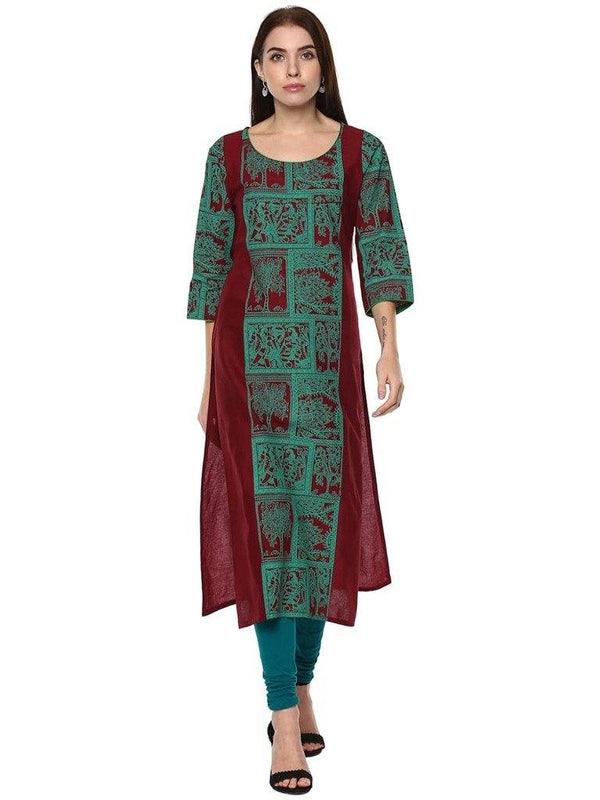 Burgundy&Green Printed Cotton Straight Make To Order Kurta