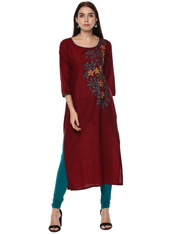 Maroon Embroidered Cotton Straight Make To Order Kurta