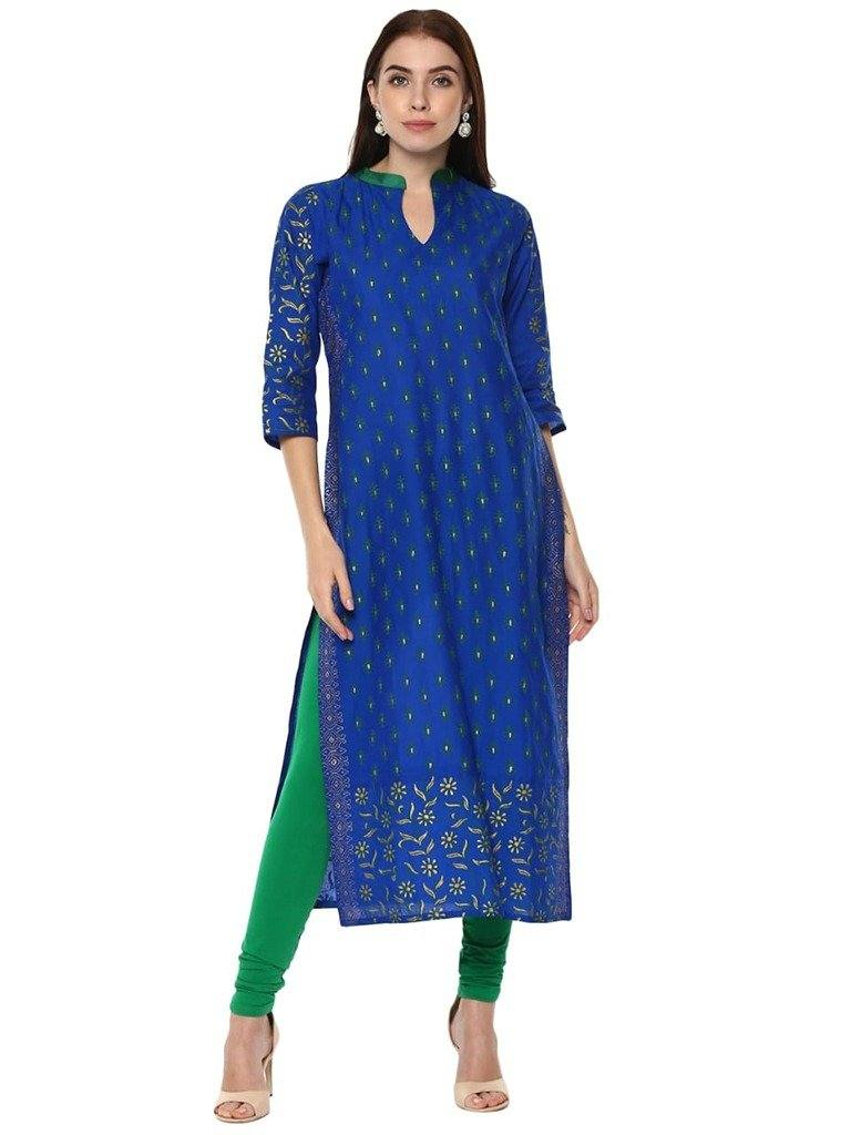 Blue Printed Cotton Straight Make To Order Kurta