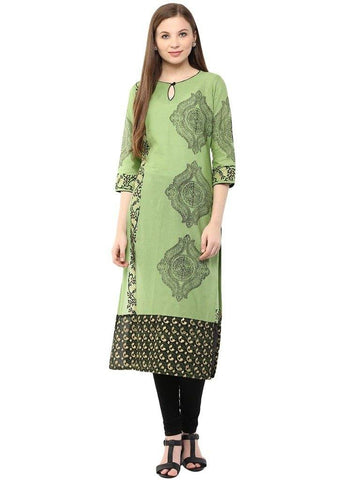 Green Printed Make To Order Cotton Kurta