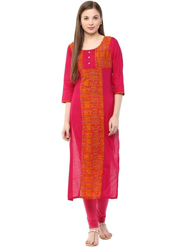 Dark Pink Colour Straight Make To Order Cotton Kurta