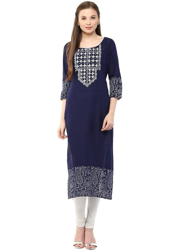 Blue Embroidered Make To Order Long Kurta