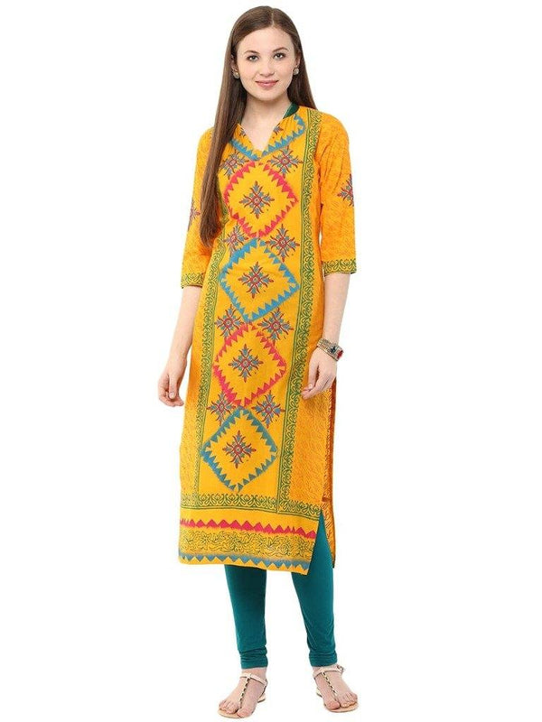 Mustard Yellow Printed Straight Make To Order Cotton Kurta