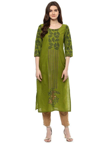 Green Printed Cotton Straight Make To Order Kurta