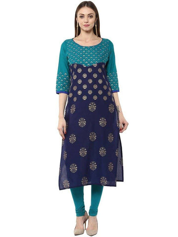 Navy Blue Aqua Cotton Make To Order Straight Kurta