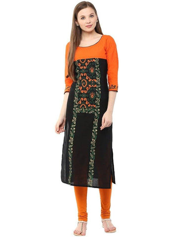 Black And Orange A-Line Cotton Straight Make To Order Kurta