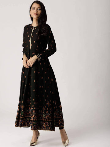 Readymade Black Colour Printed Rayon Ankle Length Kurta