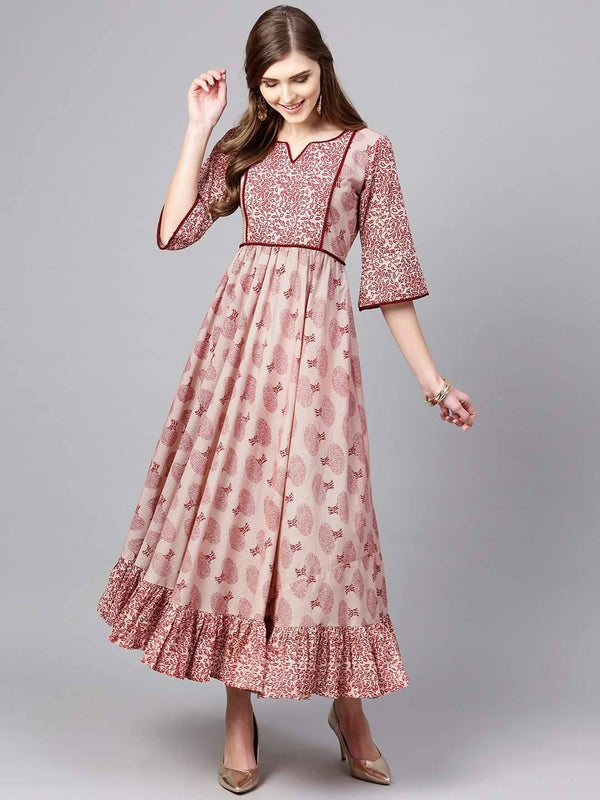 Readymade Pink  Colour Printed Cotton Anarkali Kurta