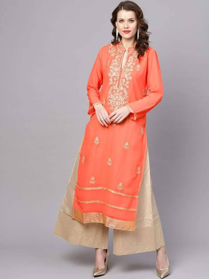 Orange Georgette Kurti/Tunic