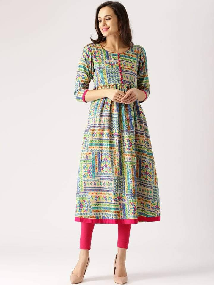 Multi- Colour Printed Make to Order Kurti