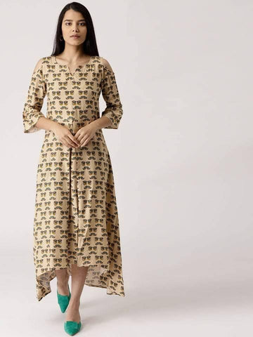 Beige Cotton Rayon Printed A-line High Low Make To Order Kurta Dress