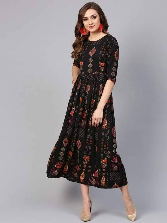 Black Cotton Rayon Printed Flared Make To Order Kurta Dress