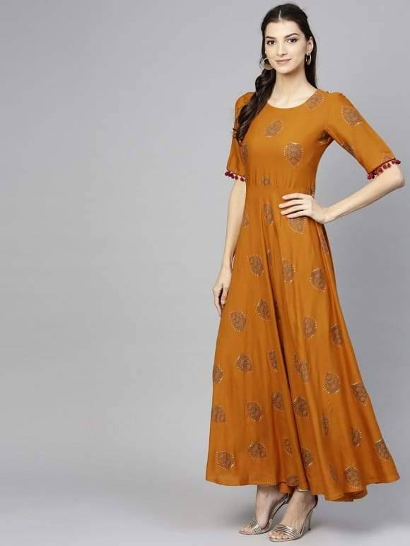Mustard  Rayon Cotton Aline Flounce Make To Order Maxi Dress