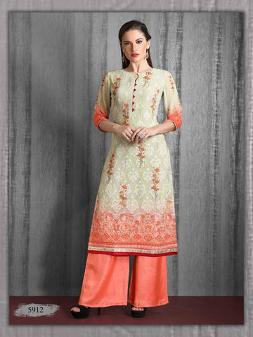 Cream And Orange Embroidered Georgette Kurta
