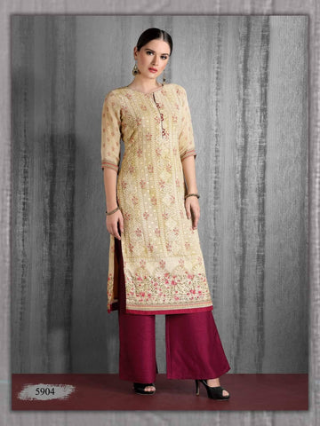 Cream And Maroon Embroidered Georgette Kurta