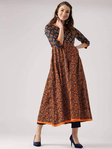 Readymade Mustard And Black Printed Rayon Cotton Ankle Length Kurta