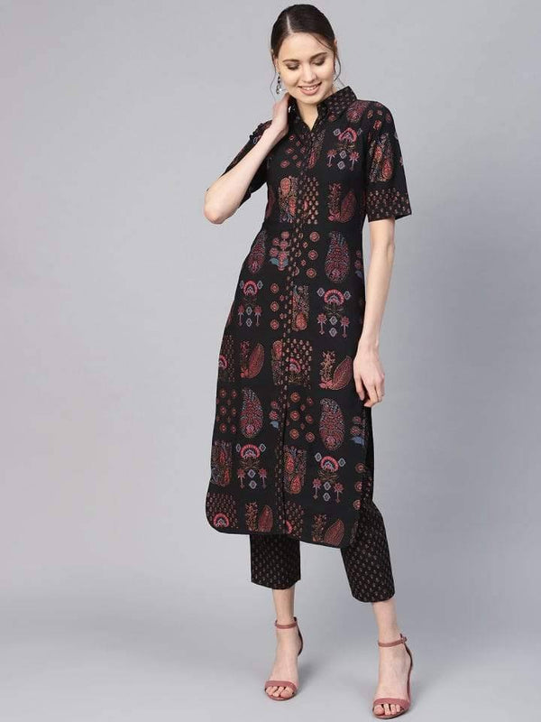 Ready Made Black Make To Order Printed Palazzo Kurta Set