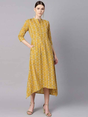 Mustard yellow colour ikat printed chinese collar dress with placket opening.