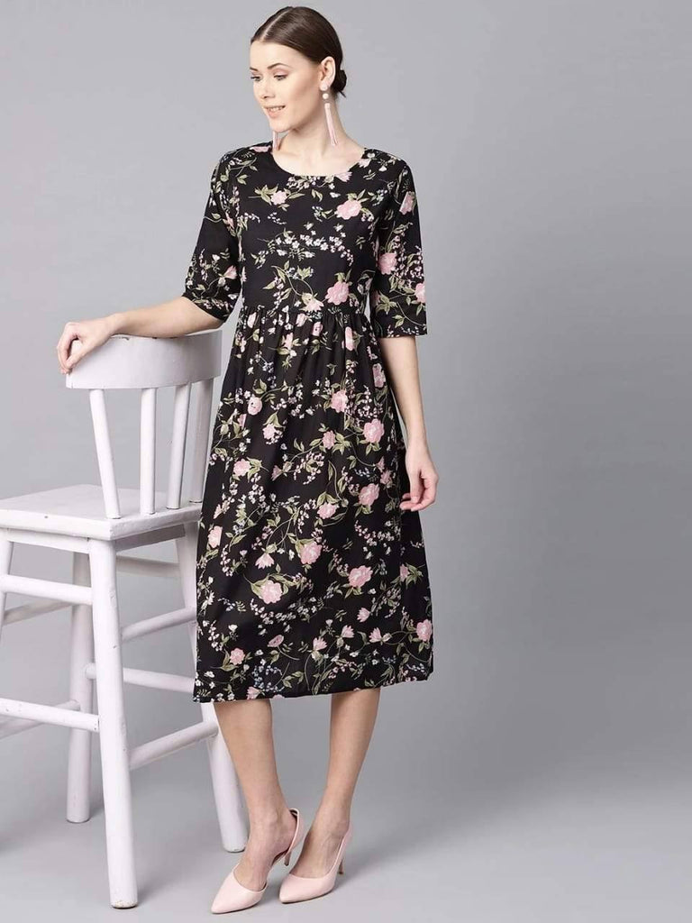 Black floral dress with round neck & half sleeves