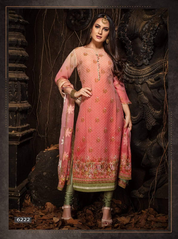 Pink Embroidered Party Wear 3 Piece Kurta Set
