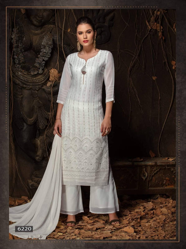 White Embroidered Party Wear 3 Piece Kurta Set