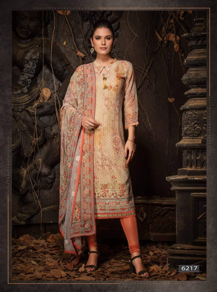 Multi Colour Embroidered Party Wear 3 Piece Kurta Set