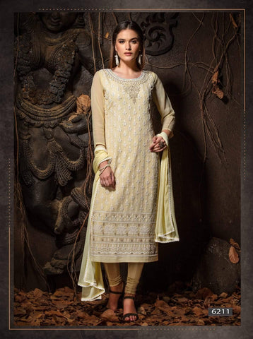 Ivory Colour Embroidered Party Wear 3 Piece Kurta Set