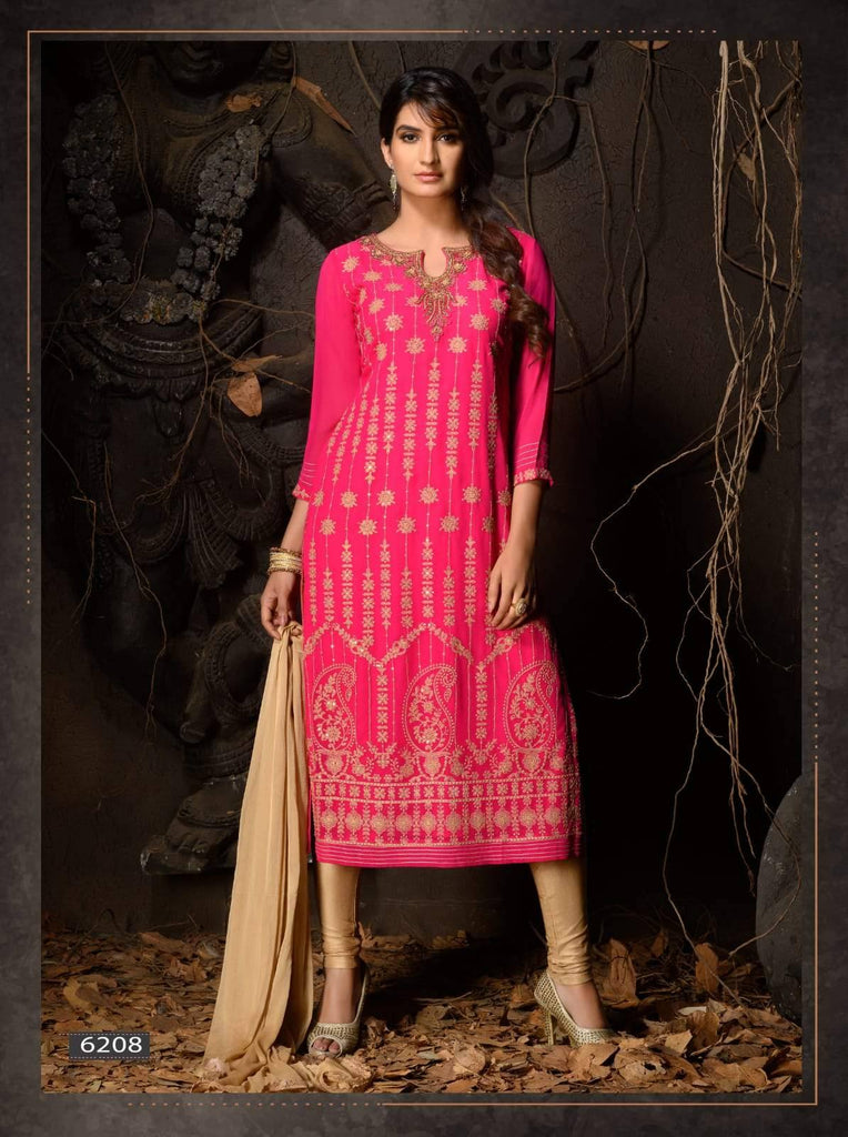 Ready Made Pink Heavy Embroidered Party Wear 3 Piece Kurta Set