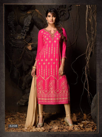 Dark Pink Heavy Embroidered Party Wear 3 Piece Kurta Set