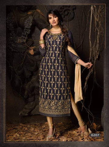Black Heavy Embroidered Party Wear 3 Piece Kurta Set