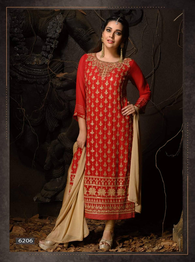 Red Heavy Embroidered Party Wear 3 Piece Kurta Set