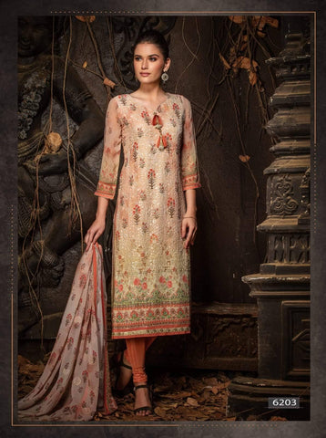 Beige Embroidered Party Wear 3 Piece Kurta Set