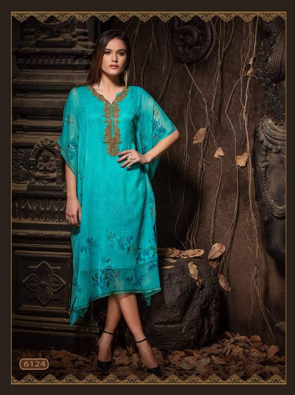 Blue Embroidered Party Wear Kaftan Kurti