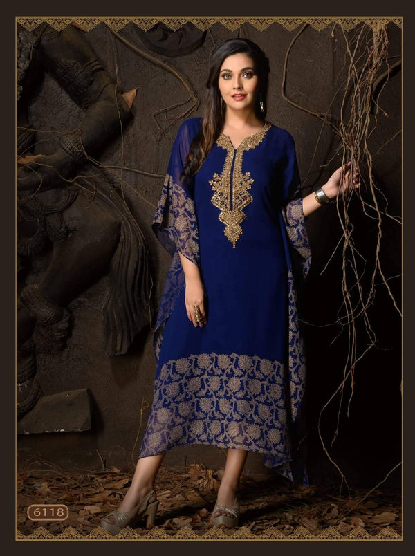 Royal Blue Embroidered Party Wear Kaftan Kurti