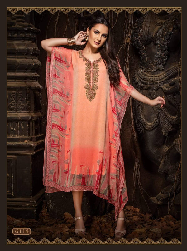 Light Peach Embroidered Party Wear Kaftan Kurti