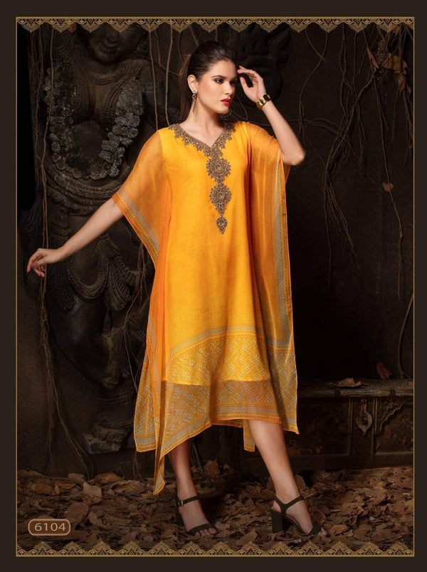 Mustard Yellow Embroidered Party Wear Kaftan Kurti
