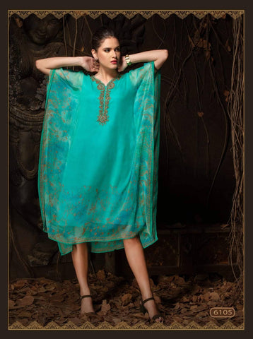 Aqua Blue Embroidered Party Wear Kaftan Kurti